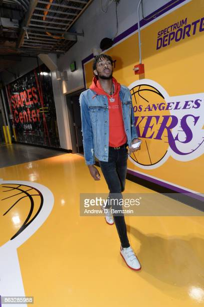 Brandon Ingram of the Los Angeles Lakers arrives before the game against the LA Clippers on October 19 2017 at STAPLES Center in Los Angeles...
