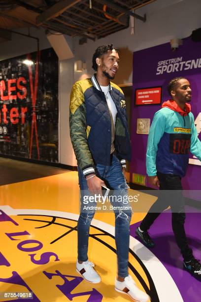 Brandon Ingram of the Los Angeles Lakers arrives before the game against the Phoenix Suns on November 17 2017 at STAPLES Center in Los Angeles...