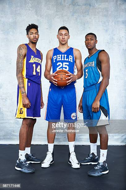 Brandon Ingram of the Los Angeles Lakers Ben Simmons of the Philadelphia 76ers and Kris Dunn of the Minnesota Timberwolves poses for a portrait...