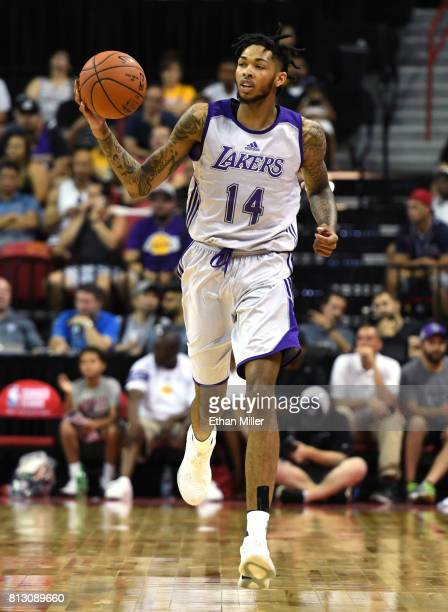 Brandon Ingram of the Los Angeles Lakers brings the ball up the court against the Los Angeles Clippers during the 2017 Summer League at the Thomas...