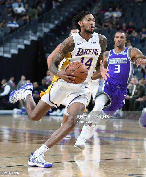 Brandon Ingram of the Los Angeles Lakers brings the ball up the court against the Sacramento Kings during their preseason game at TMobile Arena on...