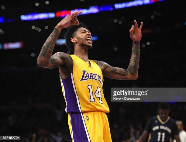 Brandon Ingram of the Los Angeles Lakers celebrates after a slam dunk against New Orleans Pelicans during the second half of the basketball game at...