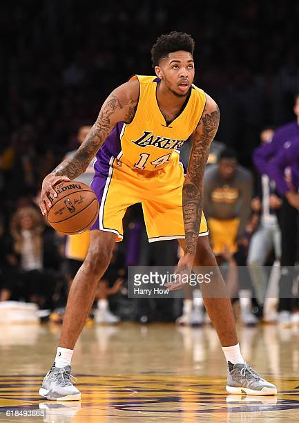 Brandon Ingram of the Los Angeles Lakers dribble during a 120114 season opening win over the Houston Rockets at Staples Center on October 26 2016 in...