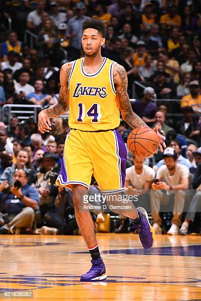 Brandon Ingram of the Los Angeles Lakers dribbles the ball up court against the Golden State Warriors on November 4 2016 at STAPLES Center in Los...