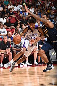 Brandon Ingram of the Los Angeles Lakers drives to the basket against the Utah Jazz during the 2016 NBA Las Vegas Summer League on July 15 2016 at...