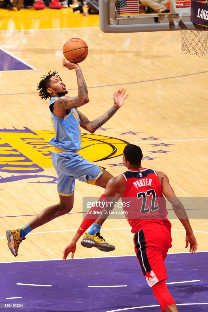 Brandon Ingram #14 of the Los Angeles Lakers drives to the basket against the Washington Wizards on October 25, 2017 at STAPLES Center in Los Angeles, California.