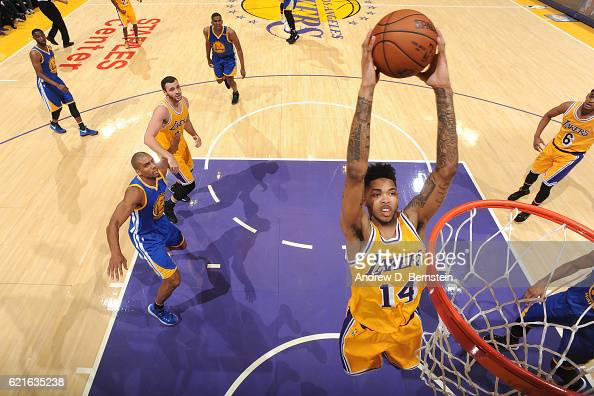 Brandon Ingram of the Los Angeles Lakers dunks the ball against the Golden State Warriors on November 4 2016 at STAPLES Center in Los Angeles...