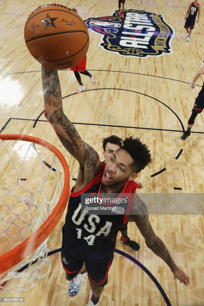 Brandon Ingram #14 of the Los Angeles Lakers dunks the ball in the first half against the World Team during the 2017 BBVA Compass Rising Stars Challenge at Smoothie King Center on February 17, 2017 in New Orleans, Louisiana.