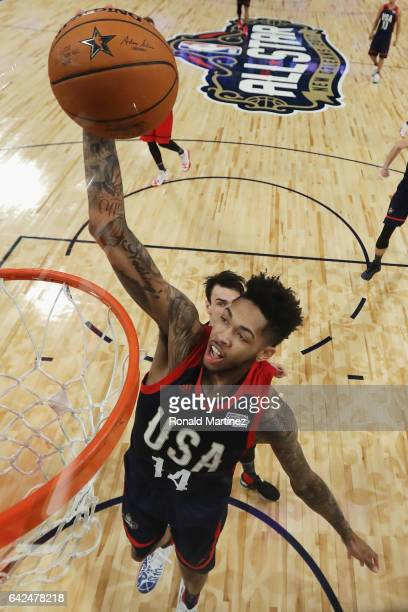 Brandon Ingram of the Los Angeles Lakers dunks the ball in the first half against the World Team during the 2017 BBVA Compass Rising Stars Challenge...
