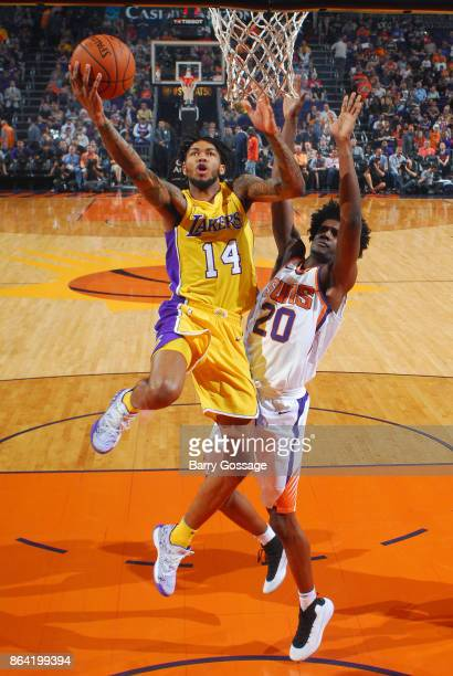 Brandon Ingram of the Los Angeles Lakers goes to the basket against the Phoenix Suns on October 20 2017 at Talking Stick Resort Arena in Phoenix...