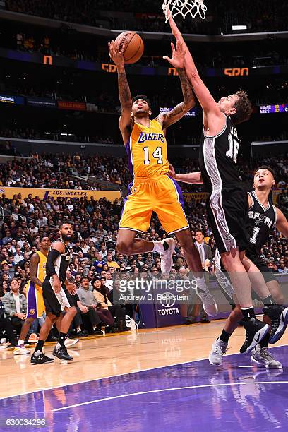 Brandon Ingram of the Los Angeles Lakers goes up for a lay up against the San Antonio Spurs on November 18 2016 at STAPLES Center in Los Angeles...
