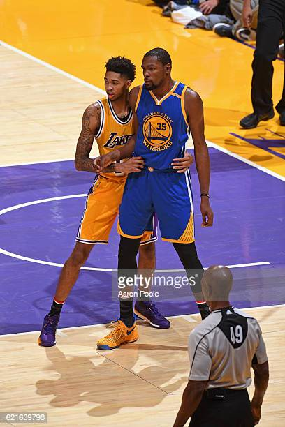 Brandon Ingram of the Los Angeles Lakers guards Kevin Durant of the Golden State Warriors on November 4 2016 at STAPLES Center in Los Angeles...