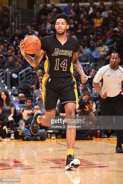 Brandon Ingram of the Los Angeles Lakers handles the ball against the Golden State Warriors on November 25 2016 at STAPLES Center in Los Angeles...