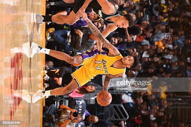 Brandon Ingram of the Los Angeles Lakers handles the ball against the San Antonio Spurs on November 18 2016 at STAPLES Center in Los Angeles...