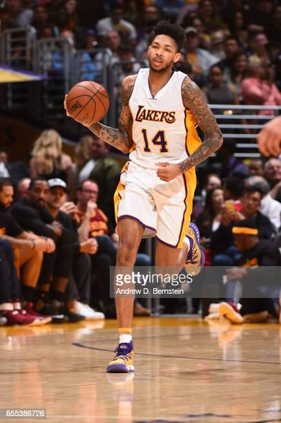 Brandon Ingram of the Los Angeles Lakers handles the ball against the Cleveland Cavaliers on March 19 2017 at STAPLES Center in Los Angeles...