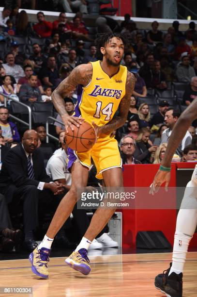 Brandon Ingram of the Los Angeles Lakers handles the ball against the LA Clippers on October 13 2017 at STAPLES Center in Los Angeles California NOTE...