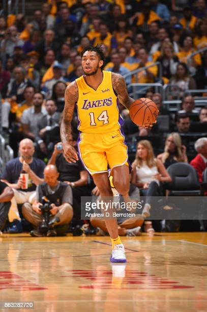 Brandon Ingram of the Los Angeles Lakers handles the ball against the LA Clippers during the game on October 19 2017 at STAPLES Center in Los Angeles...