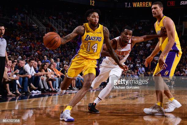 Brandon Ingram of the Los Angeles Lakers handles the ball against the Phoenix Suns on October 20 2017 at Talking Stick Resort Arena in Phoenix...