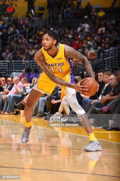 Brandon Ingram of the Los Angeles Lakers handles the ball against the Phoenix Suns on November 17 2017 at STAPLES Center in Los Angeles California...