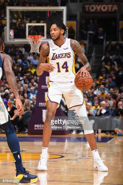 Brandon Ingram of the Los Angeles Lakers handles the ball against the Denver Nuggets on November 19 2017 at STAPLES Center in Los Angeles California...