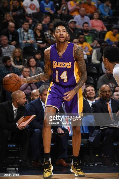 Brandon Ingram of the Los Angeles Lakers handles the ball during a game against the Denver Nuggets on March 13 2017 at the Pepsi Center in Denver...