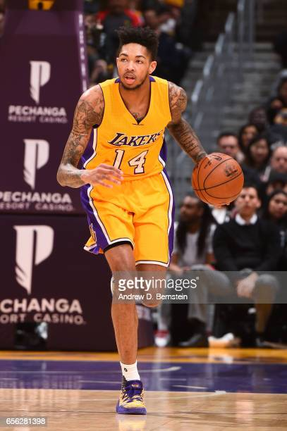 Brandon Ingram of the Los Angeles Lakers handles the ball during a game against the LA Clippers on March 21 2017 at STAPLES Center in Los Angeles...