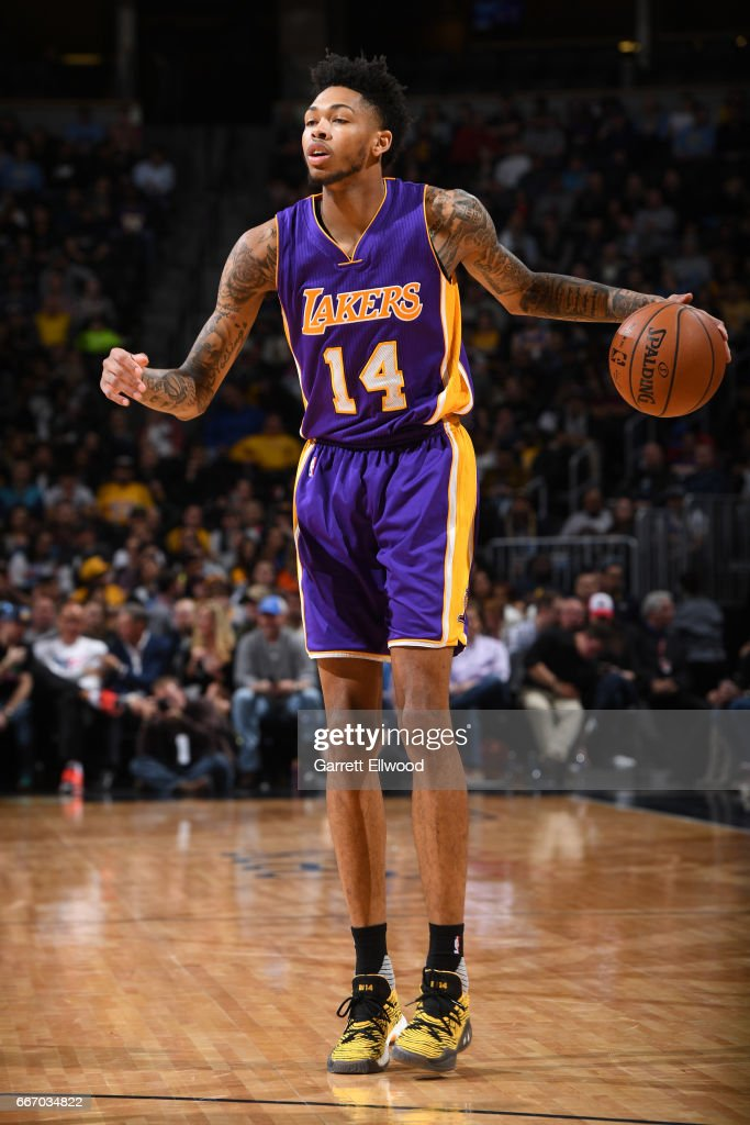 Brandon Ingram #14 of the Los Angeles Lakers handles the ball during the game against the Denver Nuggets on March 13, 2017 at the Pepsi Center in Denver, Colorado.