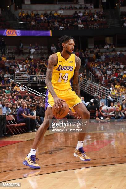 Brandon Ingram of the Los Angeles Lakers handles the ball during the preseason game on September 30 2017 at Honda Center in Anaheim California NOTE...