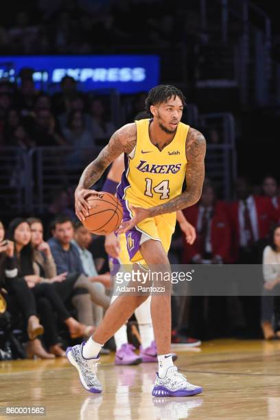 Brandon Ingram of the Los Angeles Lakers handles the ball during the preseason game against the Utah Jazz on October 10 2017 at STAPLES Center in Los...