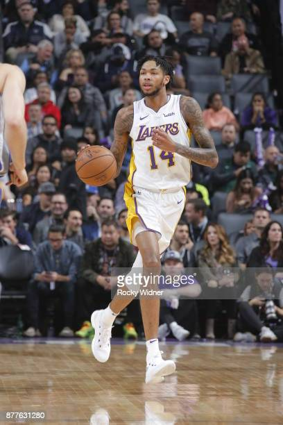 Brandon Ingram of the Los Angeles Lakers handles the ball during the game against the Sacramento Kings on November 22 2017 at Golden 1 Center in...