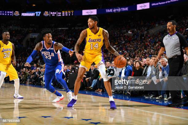 Brandon Ingram of the Los Angeles Lakers handles the ball during the game against the Philadelphia 76ers on December 7 2017 at Wells Fargo Center in...