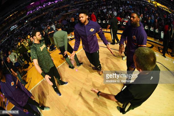 Brandon Ingram of the Los Angeles Lakers is introduced before a game against the LA Clippers on March 21 2017 at STAPLES Center in Los Angeles...