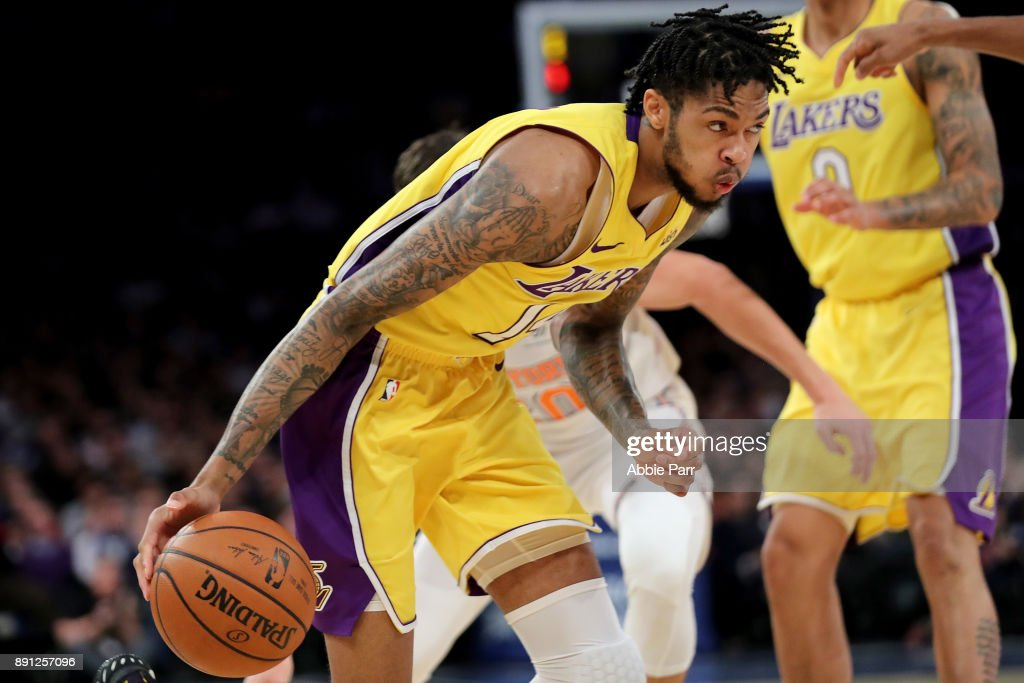 Brandon Ingram #14 of the Los Angeles Lakers moves towards the basket in the first quarter against the New York Knicks during their game at Madison Square Garden on December 12, 2017 in New York City.