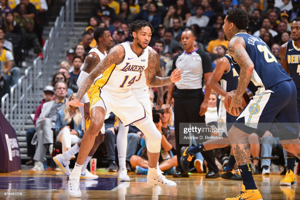 Brandon Ingram #14 of the Los Angeles Lakers plays defense against the Denver Nuggets on November 19, 2017 at STAPLES Center in Los Angeles, California.