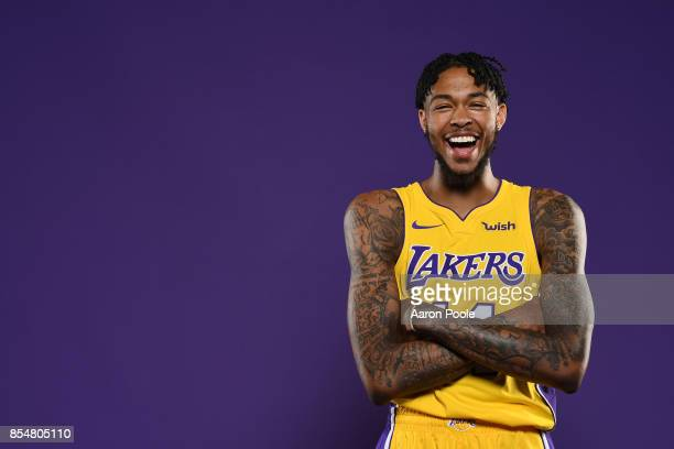 Brandon Ingram of the Los Angeles Lakers poses for a portrait during media day at UCLA Health Training Center on September 25 2017 in El Segundo...