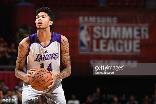 Brandon Ingram of the Los Angeles Lakers prepares to shoot a free throw against the Utah Jazz during the 2016 NBA Las Vegas Summer League on July 15...