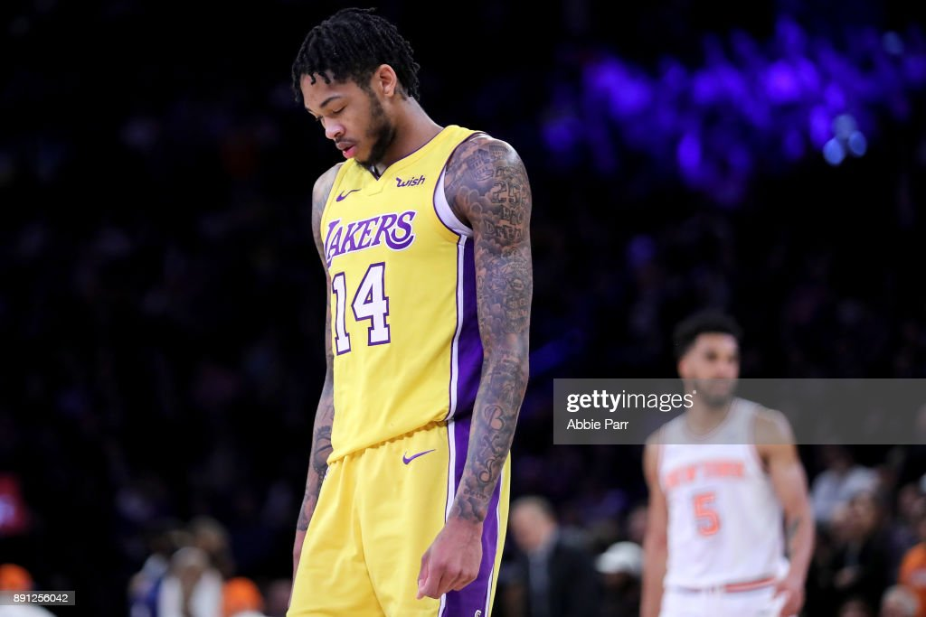 Brandon Ingram #14 of the Los Angeles Lakers reacts in overtime against the New York Knicks during their game at Madison Square Garden on December 12, 2017 in New York City.