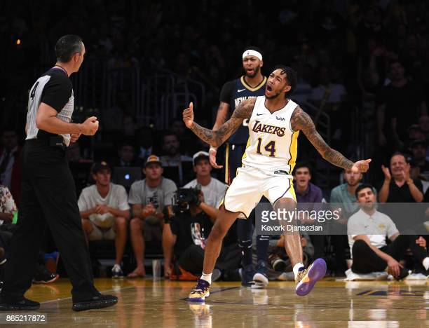 Brandon Ingram of the Los Angeles Lakers reacts to the referee Brett Nansel complaining a foul call he committed against Anthony Davis of the New...