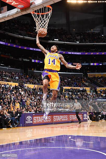 Brandon Ingram of the Los Angeles Lakers shoots the ball against the Denver Nuggets during the game on January 17 2017 at STAPLES Center in Los...