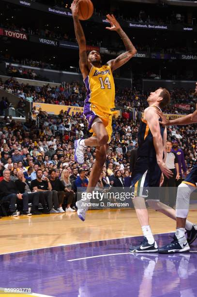 Brandon Ingram of the Los Angeles Lakers shoots the ball against the Utah Jazz during a preseason game on October 10 2017 at STAPLES Center in Los...
