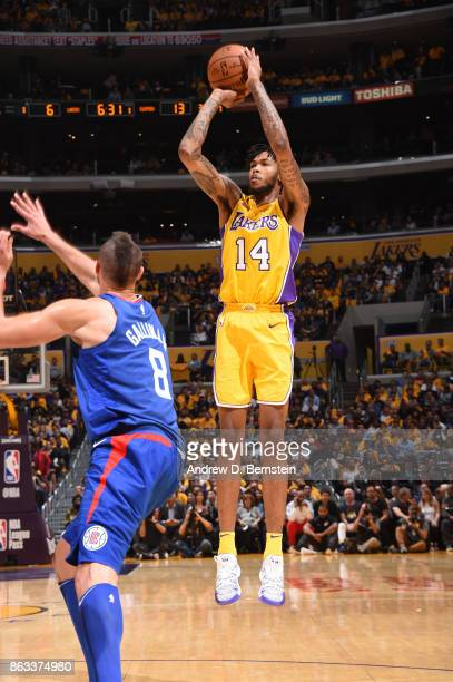 Brandon Ingram of the Los Angeles Lakers shoots the ball against the LA Clippers during the game on October 19 2017 at STAPLES Center in Los Angeles...