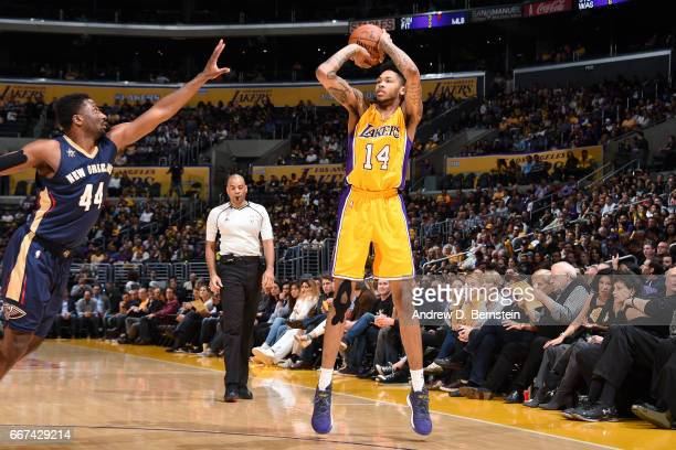Brandon Ingram of the Los Angeles Lakers shoots the ball during the game against the New Orleans Pelicans on April 11 2017 at STAPLES Center in Los...