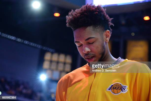 Brandon Ingram of the Los Angeles Lakers stands for the National Anthem before a game against the Sacramento Kings on April 7 2017 at STAPLES Center...