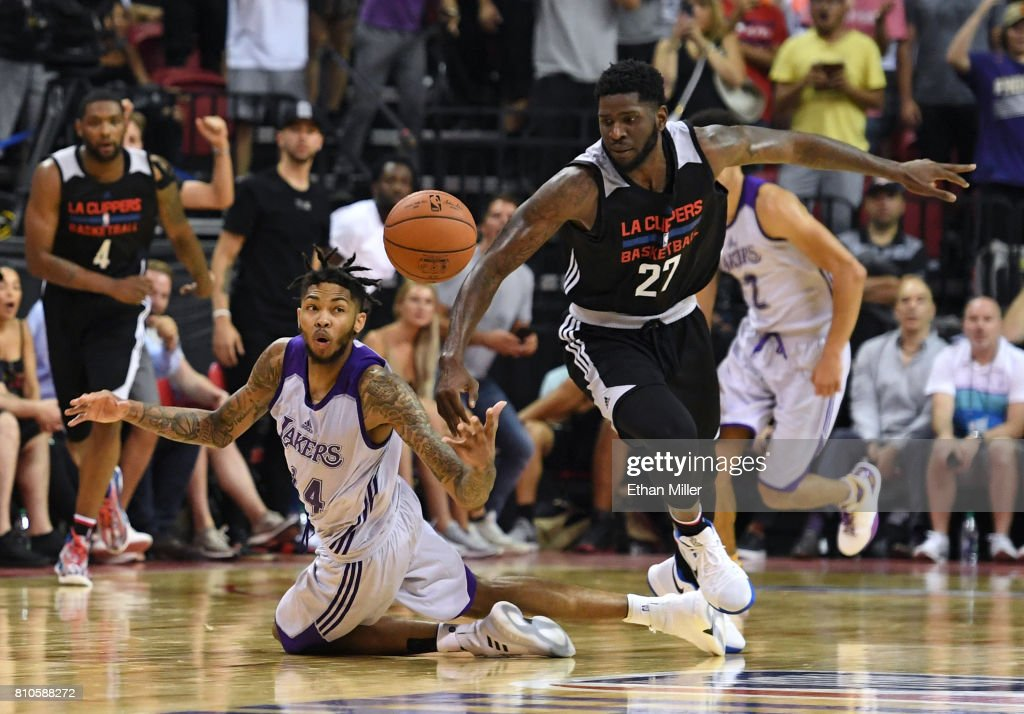Brandon Ingram #14 of the Los Angeles Lakers steals the ball from Jamil Wilson #27 of the Los Angeles Clippers near the end of regulation during the 2017 Summer League at the Thomas & Mack Center on July 7, 2017 in Las Vegas, Nevada. The Clippers won 96-93 in overtime.
