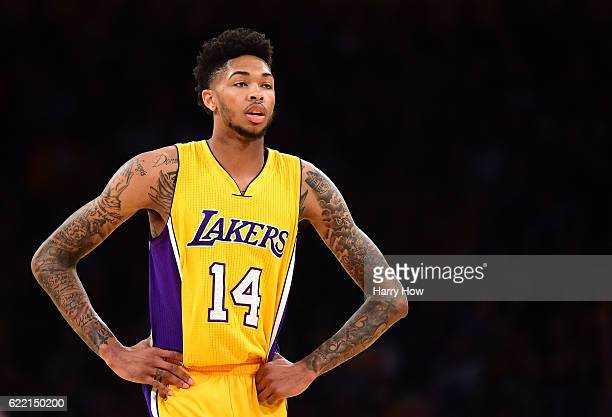 Brandon Ingram of the Los Angeles Lakers waits for play during a 120114 season opening win over the Houston Rockets at Staples Center on October 26...