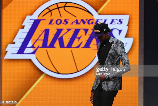 Brandon Ingram walks off stage after being drafted second overall by the Los Angeles Lakers in the first round of the 2016 NBA Draft at the Barclays...