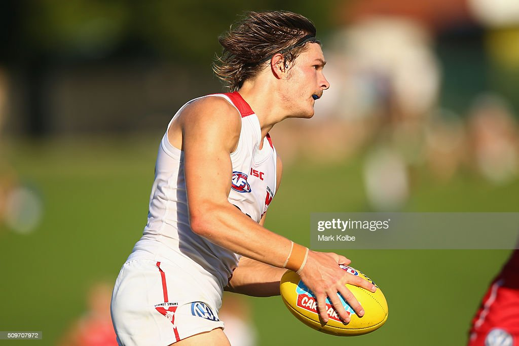 Brandon Jack of the White Team runs the ball forward during the Sydney Swans AFL intra-club match at Henson Park on February 12, 2016 in Sydney, Australia.