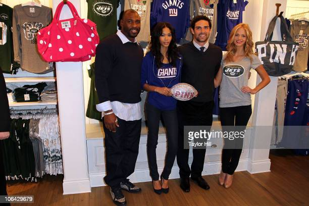 Brandon Jacobs Chanel Iman Mark Sanchez and Erin Heatherton celebrate the launch of the VS PINK National Football League collection at Victoria's...