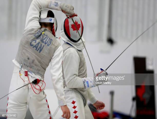 Brandon Jalowica fences Blake Broszus during gold medal final match of the Junior Men's Foil event on April 21 2017 at the Canadian National Fencing...