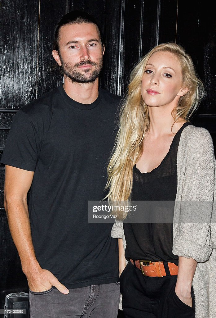 Brandon Jenner and Leah Jenner of Brandon & Leah pose for protraits before performing at the Hotel Cafe on July 13, 2013 in Hollywood, California.